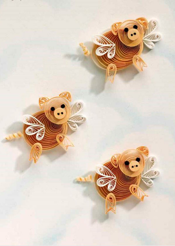 three quilled flying pigs