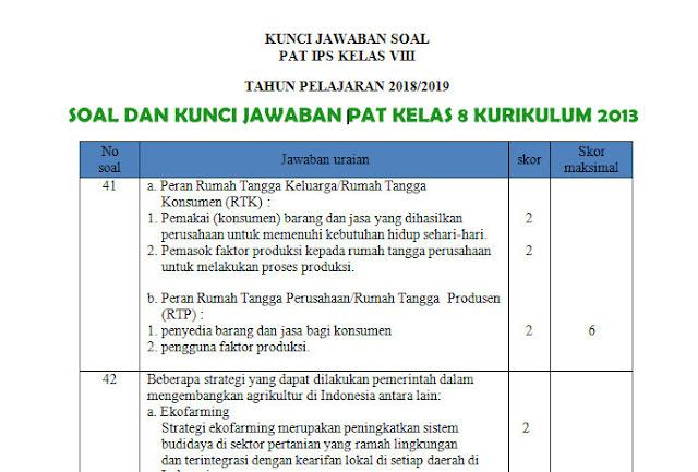 Soal Dan Kunci Tanggapan Pat Smp Kelas 8 Kurikulum 2013