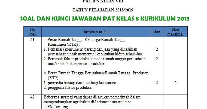 Soal Dan Kunci Jawaban Pat Smp Kelas 8 Kurikulum 2013 Semua Mata Pelajaran Tahun 2019 Mgmp Ips Indramayu