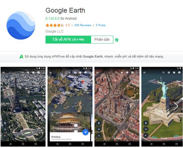 Tải Google Earth Apk về máy điện thoại Android miễn phí