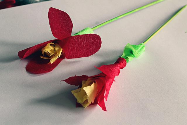 crepe papier bloemen