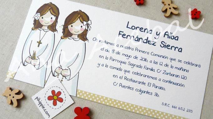 invitacion comunion personalizada gemelas estilo
