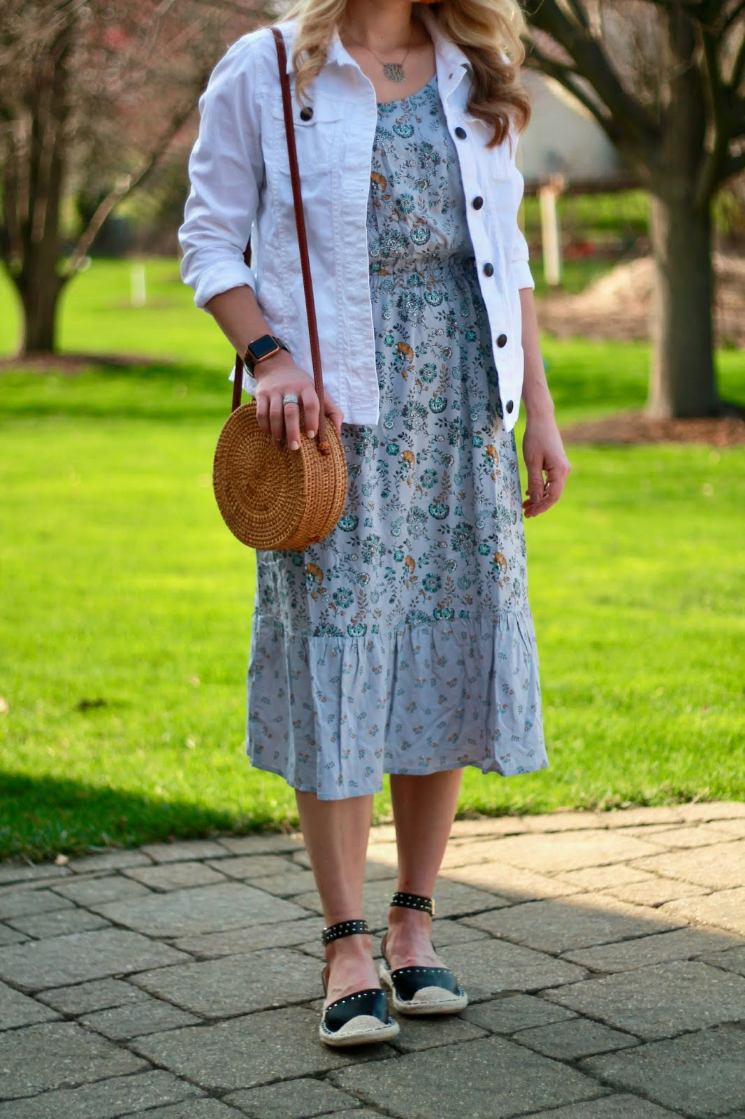 aventura westlyn dress, aventura spring 2020, white denim jacket, black studded espadrilles, straw circle bag