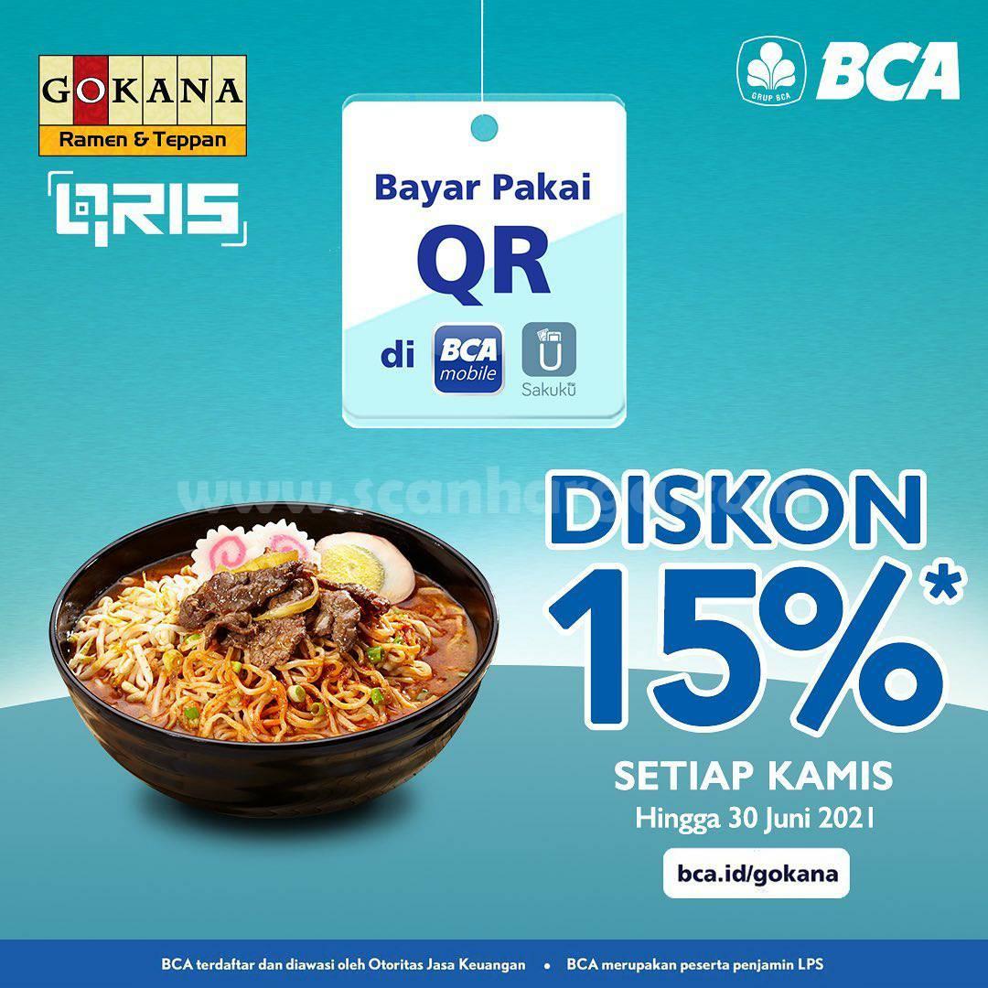 GOKANA Promo DISKON 15%! transaksi dengan menggunakan Qris BCA Mobile dan Saku
