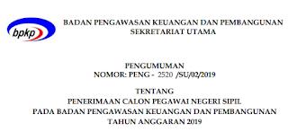 Pengumuman CPNS BPKP Tahun 2019