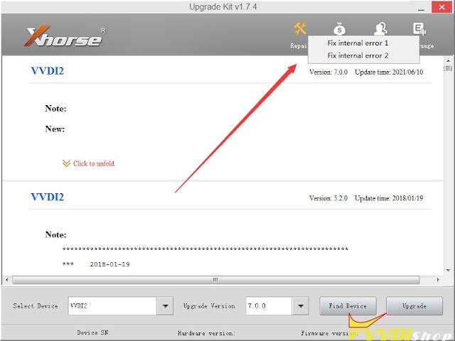 xhorse-vvdi2-fix-internal-error