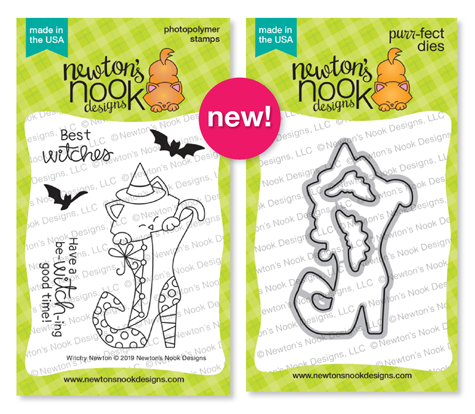 Witchy Newton | Cat in Witch Boot Halloween Stamp Set by Newton's Nook Designs #newtonsnook