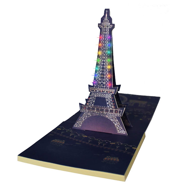Happy Birthday Eiffel Tower Lights and Music Pop Up Card