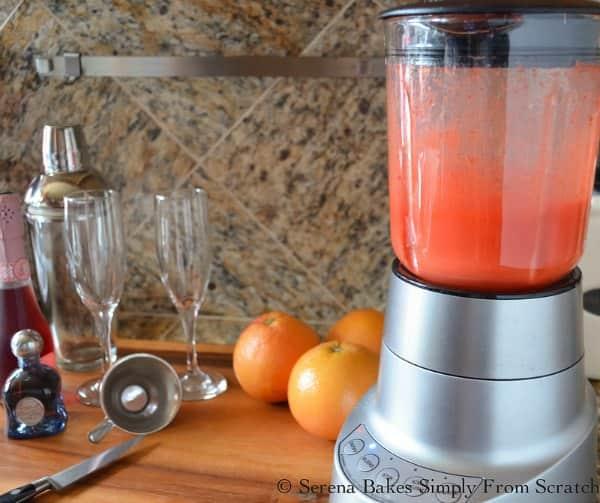 Blend Strawberries until smooth to make Strawberry Grapefruit Mimosas.