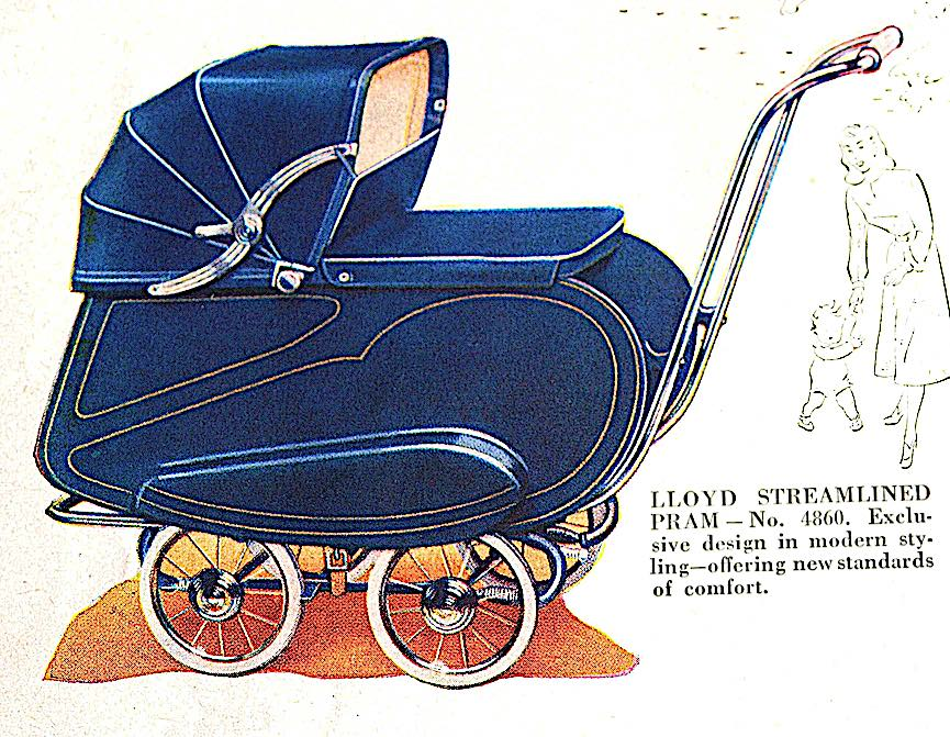 1940s? a streamline style baby buggy in blue