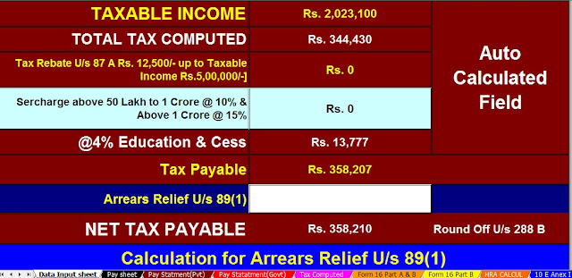 Income Tax Calculator All in One for the Non=Govt Employees for the F.Y.2020-21