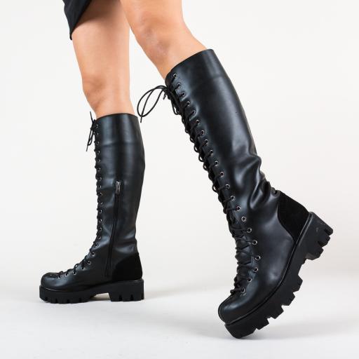 Cizme negre la moda inalt fara toc cu sireturi casual