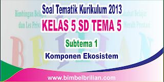 Soal Tematik Kelas 5 SD Tema 5 Subtema 1 Komponen Ekosistem dan Kunci Jawaban