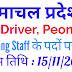 हिमाचल प्रदेश में ड्राईवर मार्केटिंग स्टाफ तथा Peon के पदों पर भर्ती अंतिम तिथि 15/11/2019