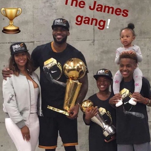 photos lebron james poses with wife kids after winning first nba