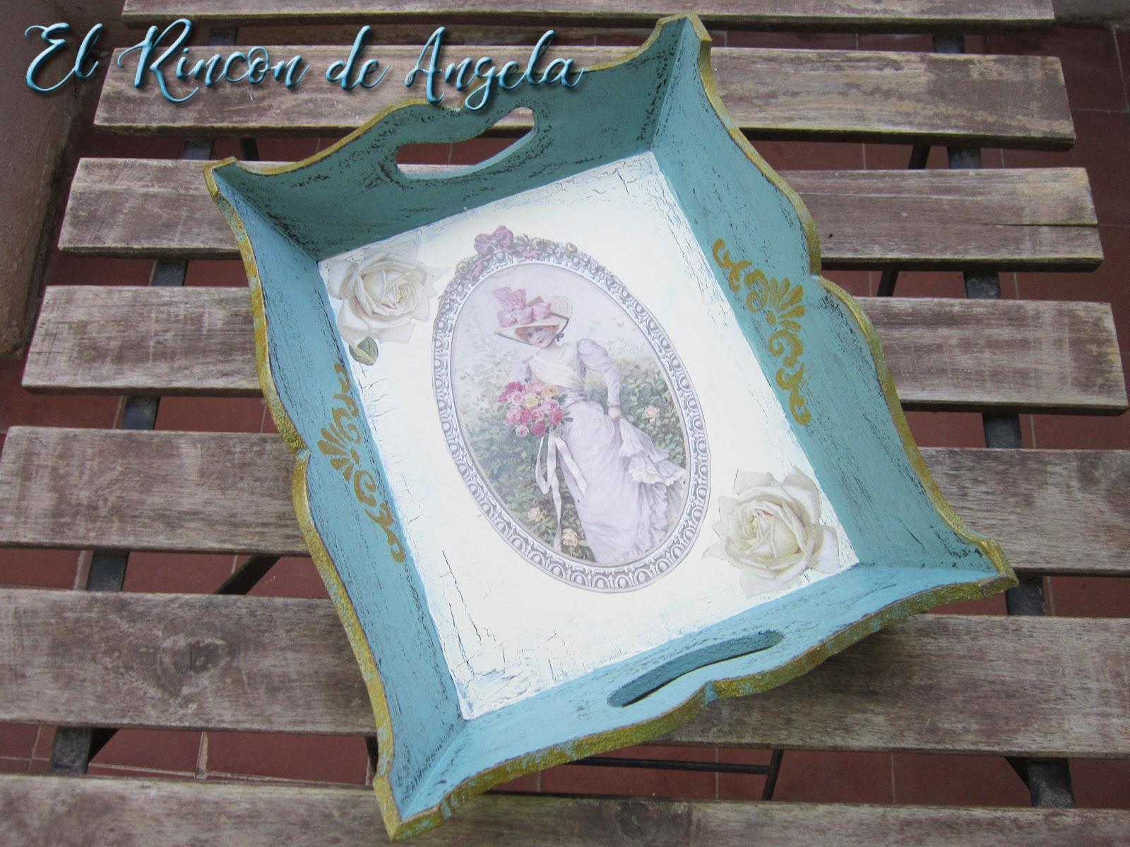El rincon de angela bandeja decorada con decoupage estilo - El rincon azul de angela ...