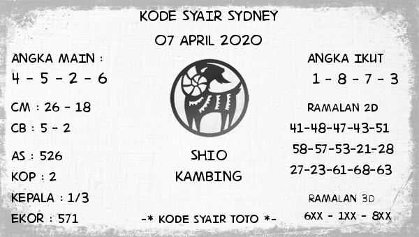 Syair Sidney Selasa 07 April 2020 - Kode Syair Sidney