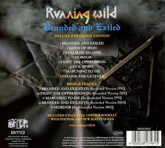 RUNNING WILD - Branded And Exiled [Expanded Version Remastered] (2017) back