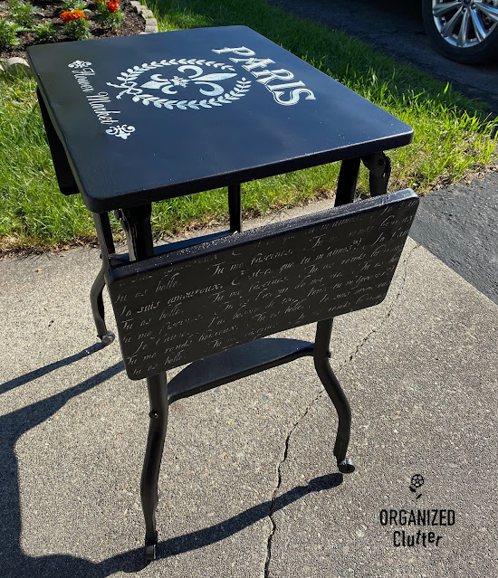 Photo of a painted & stenciled vintage typing table