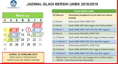 gambar jadwal gladi bersih UNBK 2019