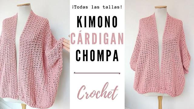 Hermoso Kimono Cárdigan Chompa a Crochet