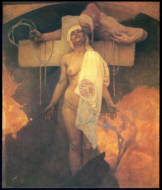 Альфонс Муха - Франция обнимает Богемию. 1918