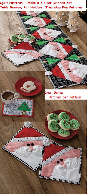Make a Dear Santa Kitchen Set - Quilt Pattern for Pot Holder, Mug Rug, Table Runner