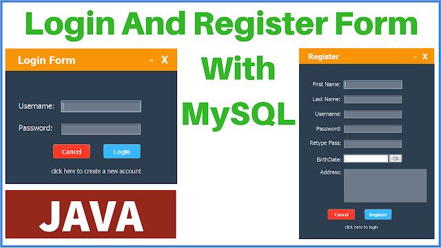 Java - Login And Register Form With MySQL DataBase