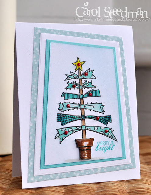 Inky Fingers Woodware Ribbon Tree Christmas Card