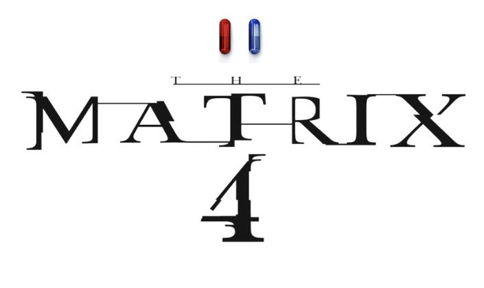 Imagem: fundo branco com o logo novo de Matrix 4, composto por letras quebradas e pretas, como se fossem um tipo de glitch e acima delas, um par de pílulas, uma azul e uma vermelha.