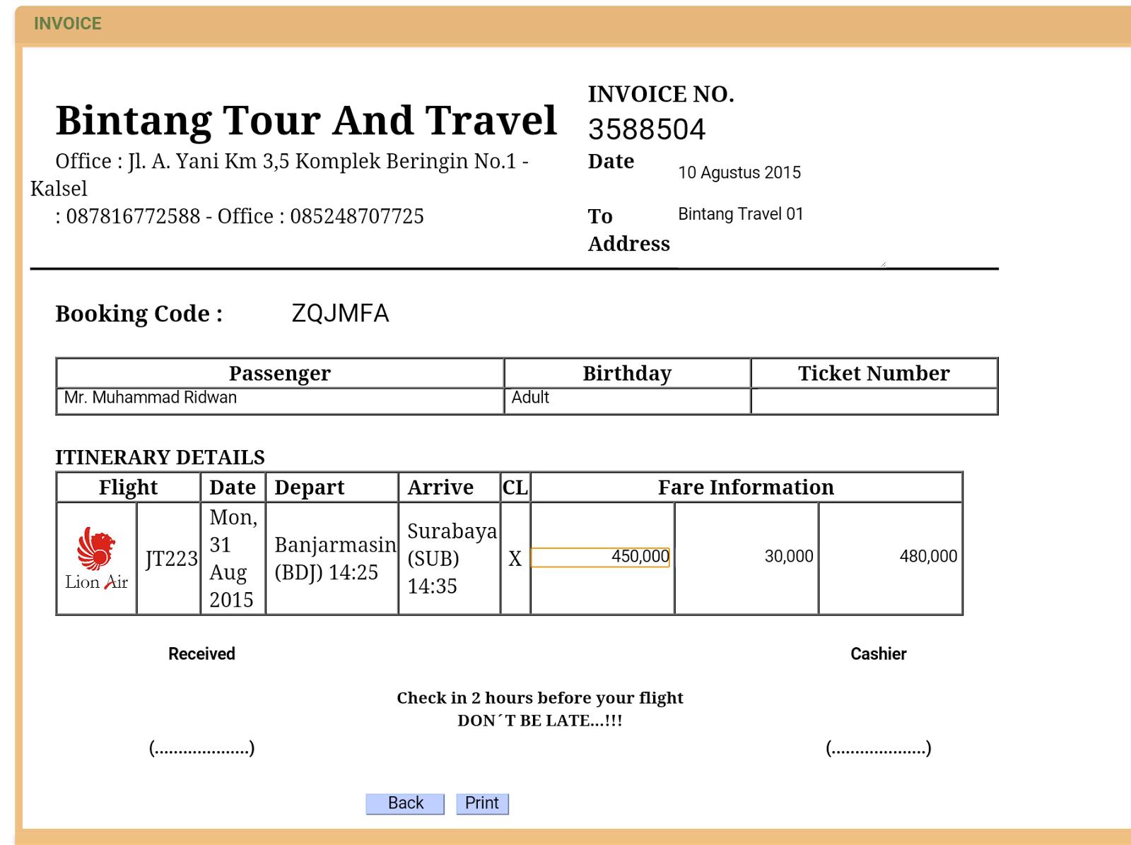 Contoh Invoice Travel Br1m Free