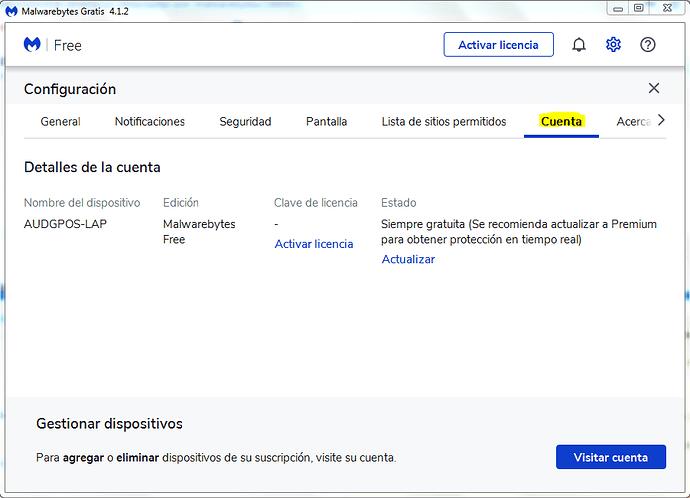 cuenta gratuita malwarebytes