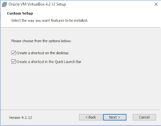 shortcut di desktop dan membuat shortcut di quick launch virtualbox di windows