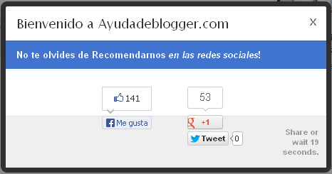 Me gusta Facebook Google + y Twitter Popout para blogger