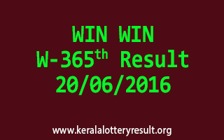 WIN WIN Lottery W 365 Results 20-6-2016