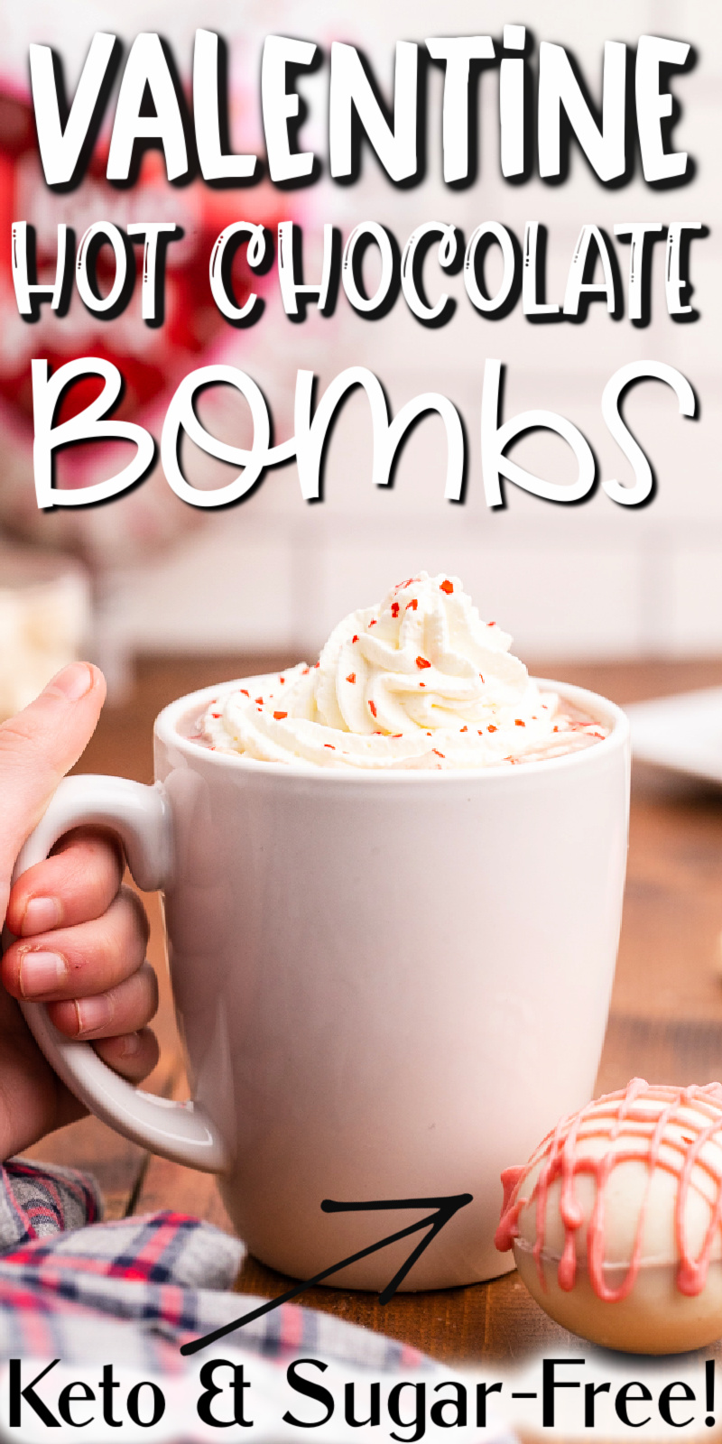 Keto Valentine Hot Chocolate Bombs - Treat your Valentine to a super creamy, rich, and delicious Keto Hot Chocolate Bomb. They have only 5 ingredients and 0 net carbs! They are sugar-free, low-carb, and gluten-free too!! #lowcarb #keto #glutenfree #sugarfree #hot #chocolate #bomb #valentinesday #valentine #recipe