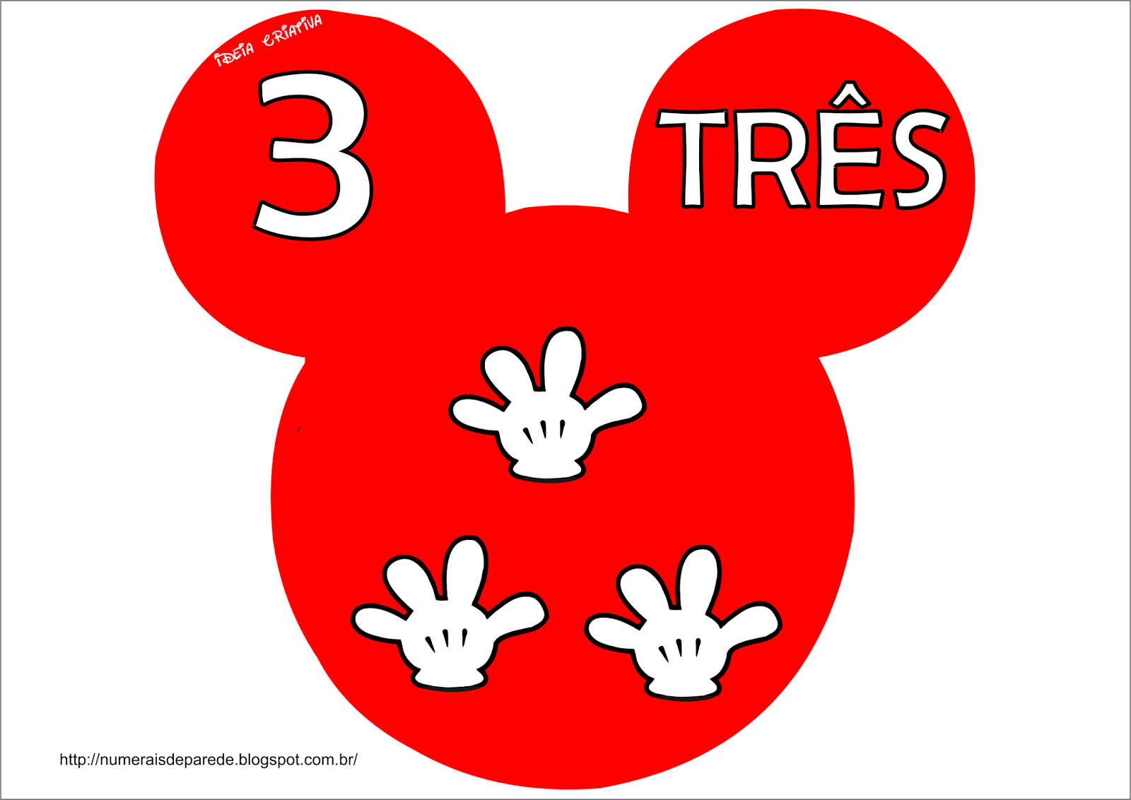 NUMERAIS DE PAREDE: Numerais De Parede Mickey Mouse Zero A