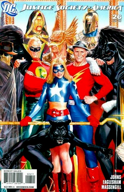 heroic poses of Justice Society members Sandman, GL Alan Scott, young Wildcat, Hawkman, Stargirl, Flash, and elder Wildcat