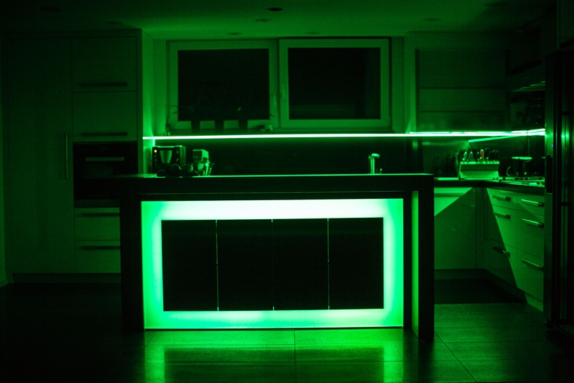 Green light on kitchen island