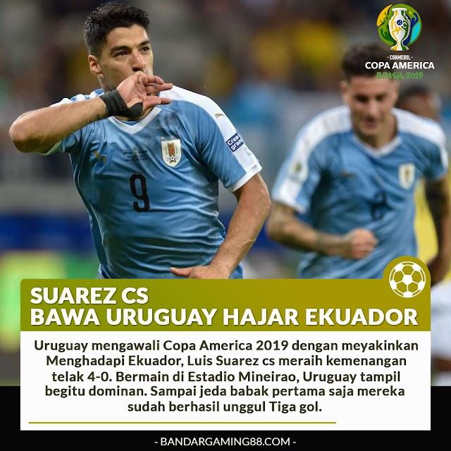 URUGUAY HAJAR EKUADOR 4-0 TANPA BALAS