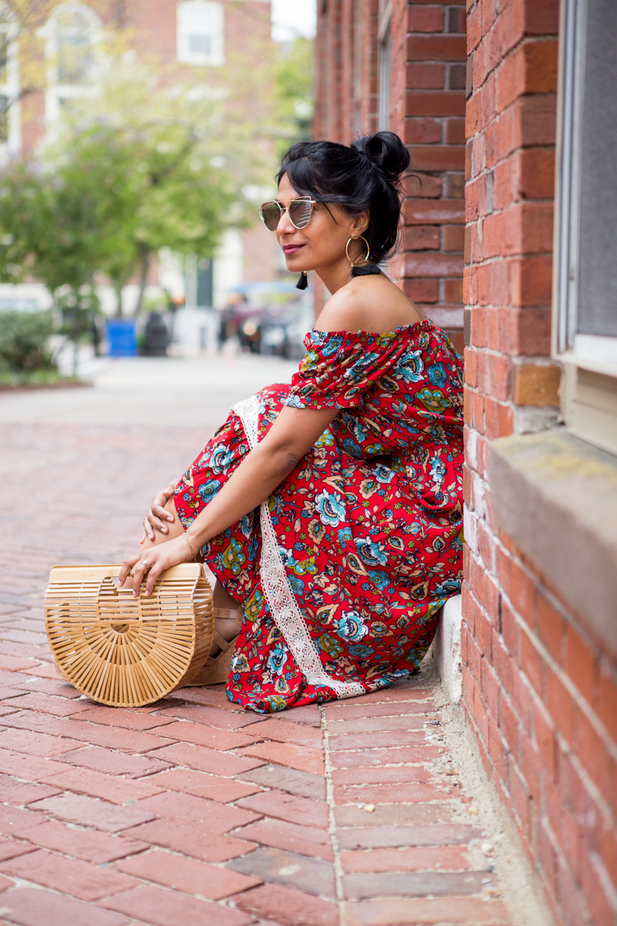 cult gaia, floral, maxi dress, midi dress, summer style, summer fashion, sundress, vacay style, petite blogger, petite fashion, women's fashion, over 40 fashion, fashion in your 40's, cork wedge, forever 21, platform sandals, colorful, feminine style, boho, boho chic, tassels, fringe