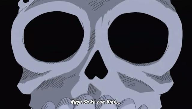 khuôn mặt của brook  khi lần đầu gặp băng mũ rơm