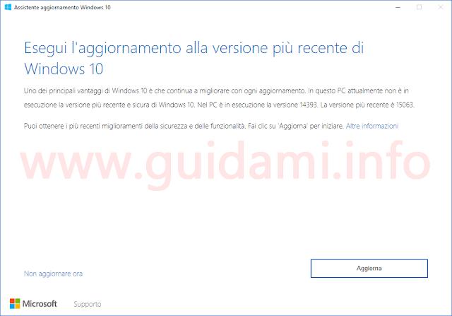 Assistente aggiornamento Windows 10 Creators Update prima schermata