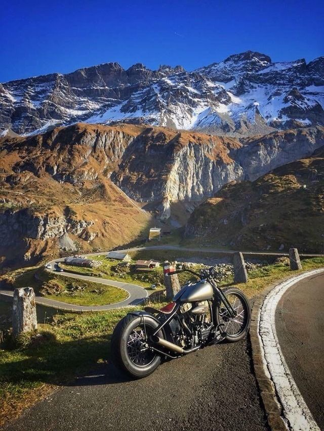 Harley Bobber on a Mountain Pass - Photographer and Location Unknown