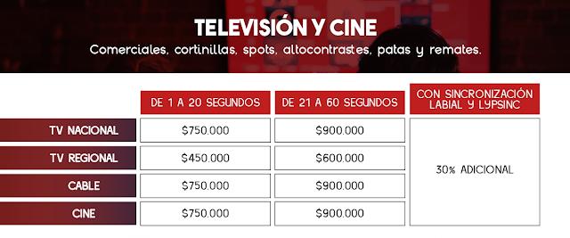Tarifas de Locución Publicitaria para Comerciales de Televisión y Cine - Colombia 2021