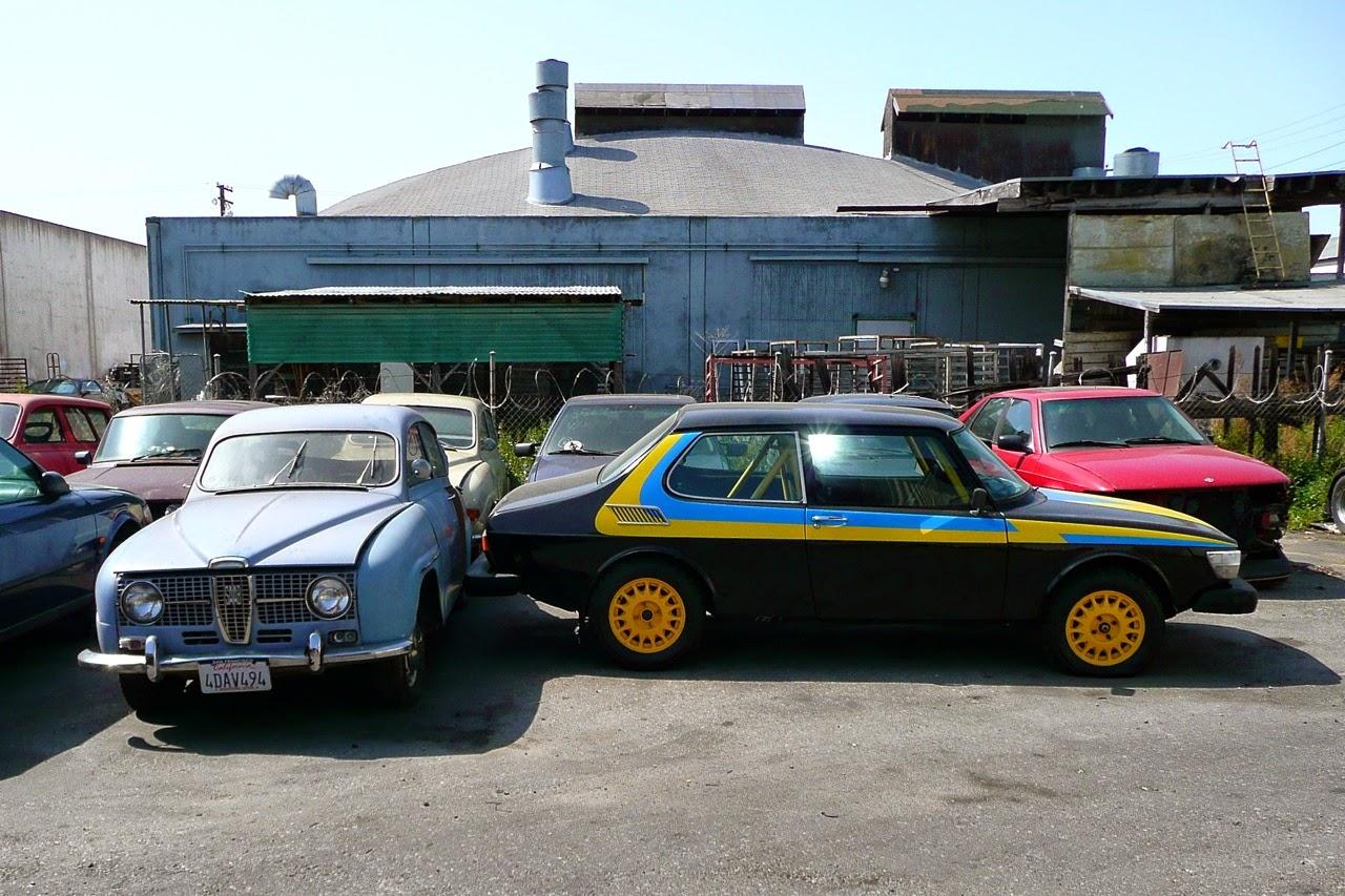 Scenes in a classic Saab shop, race, rally, rallye car