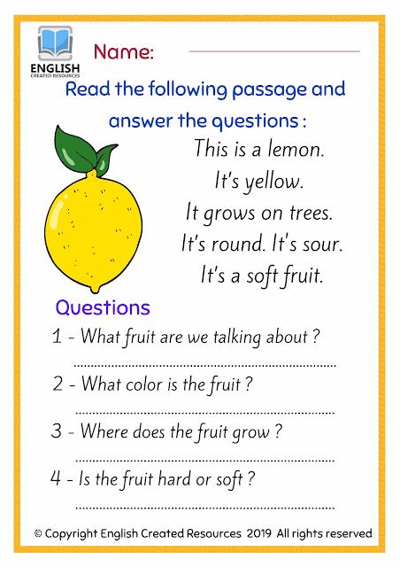 Reading Comprehension Fruits Part 2