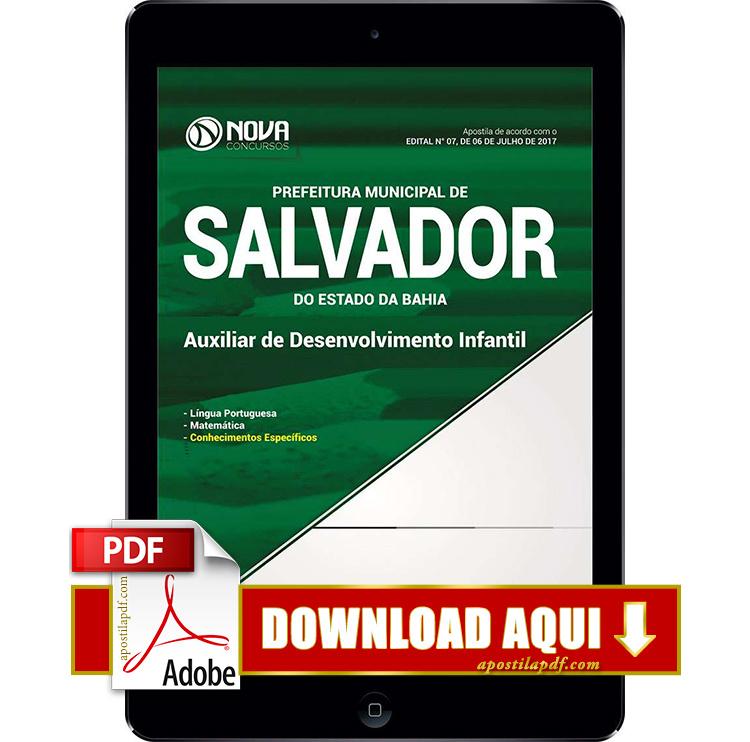 Apostila Prefeitura de Salvador 2017 PDF Download Auxiliar de Desenvolvimento Infantil