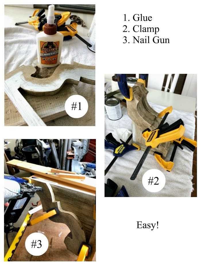 Glue, clamp, nail corbels together