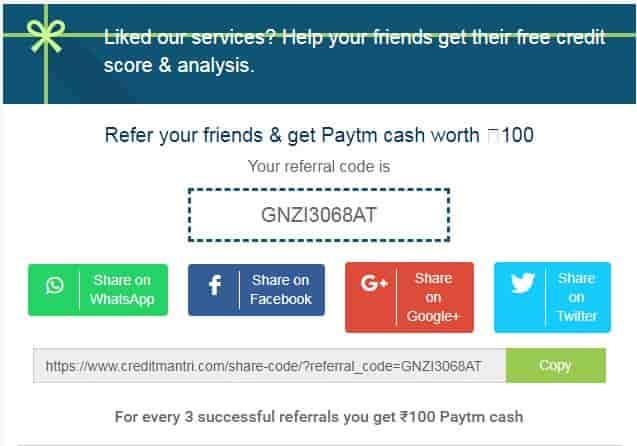 CreditMantri Paytm Cash Offer - Refer 3 Friends & Earn Paytm Cash